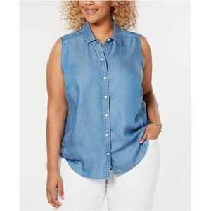 Charter Club Plus Size Sleeveless Bottom down Top
